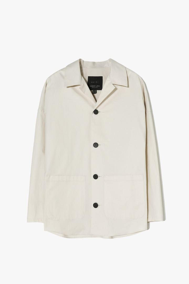 Open Collar Shirts Jacket - Beige