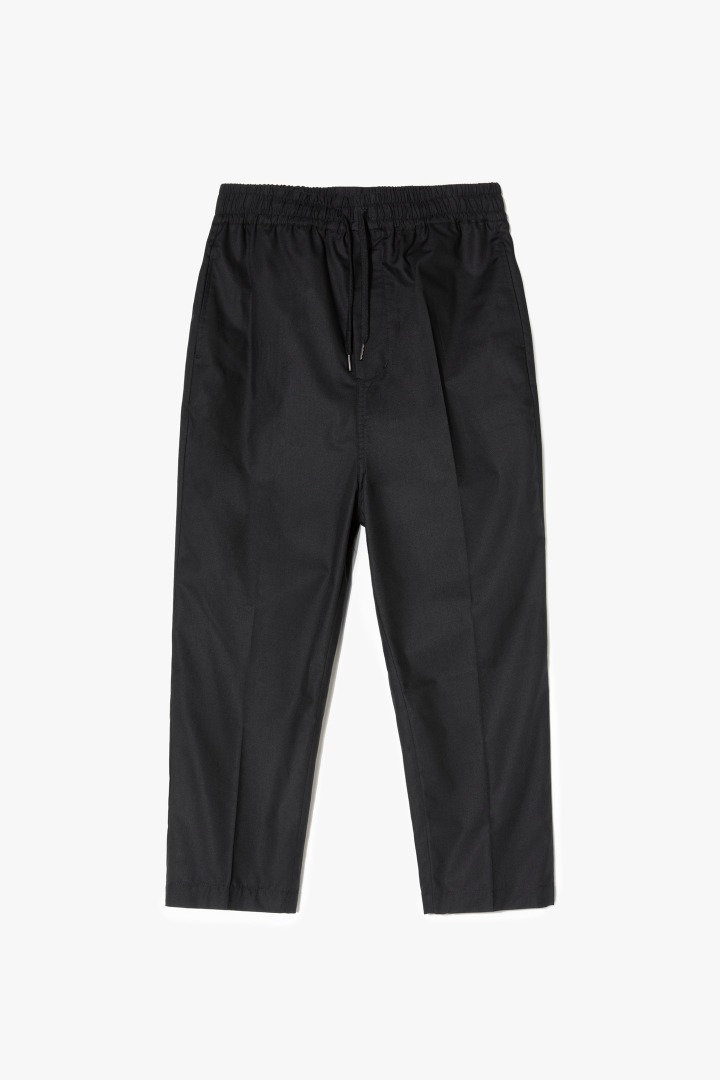 Relaxed Crop Baggy Pants - Black