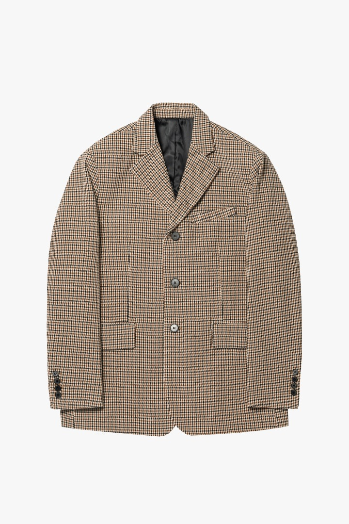 GL 3 Button Jacket - Brown Check