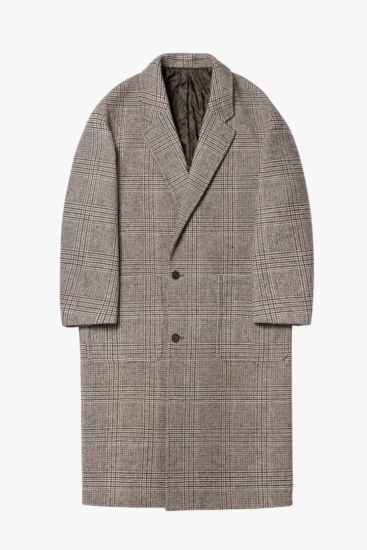 Notched Lapel Long Coat - Check