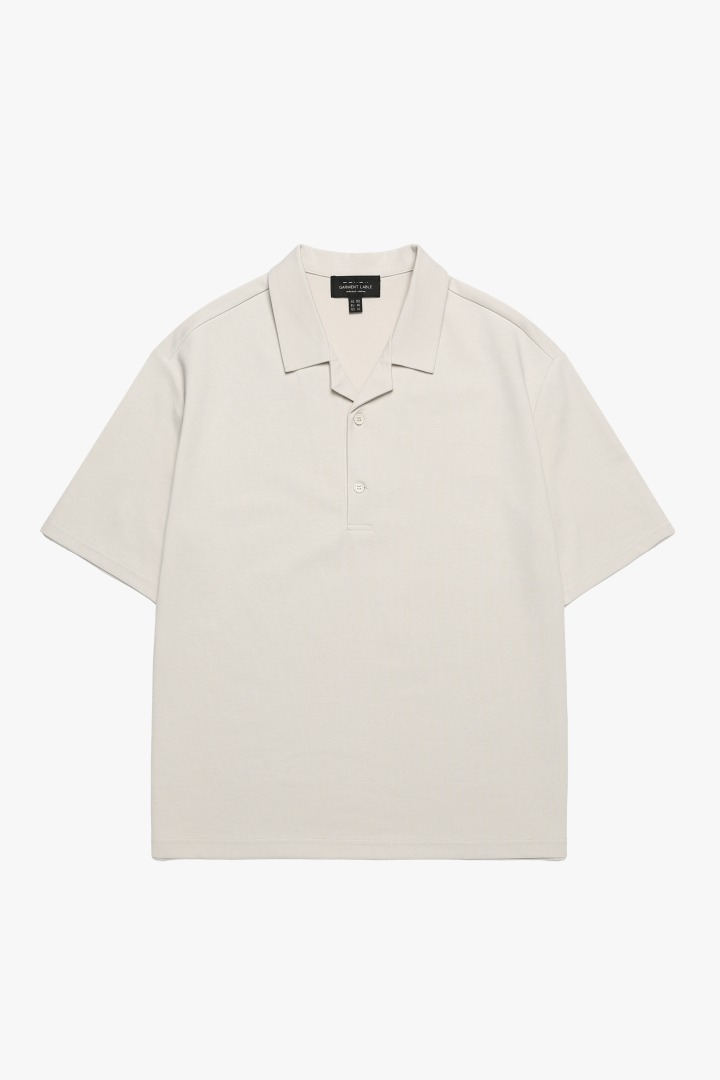 Open Collar T-Shirt - LIGHT BEIGE