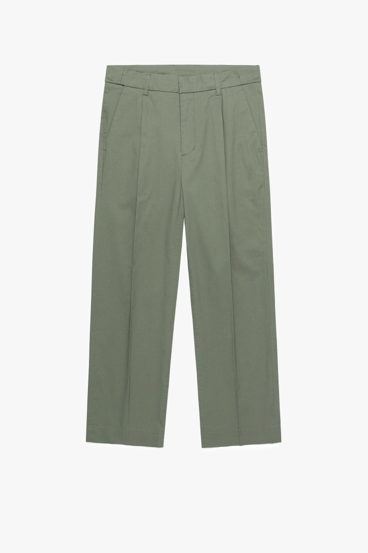 Hidden Banding Linen Wide Slacks- Khaki