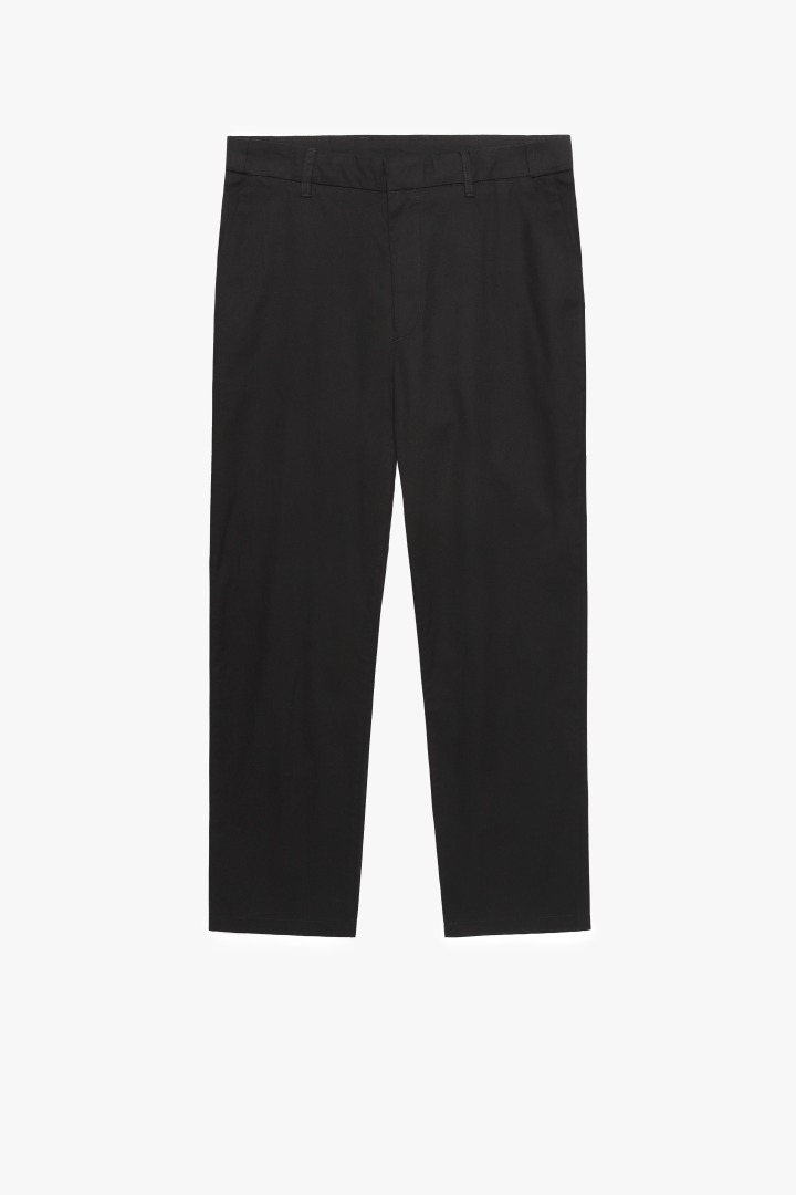 Hidden Banding Linen Tapered Slacks-Black