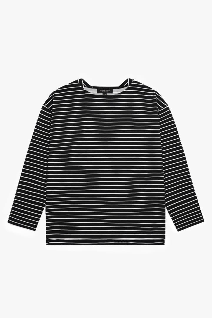 Boatneck Stripe Sleeve Tee Black
