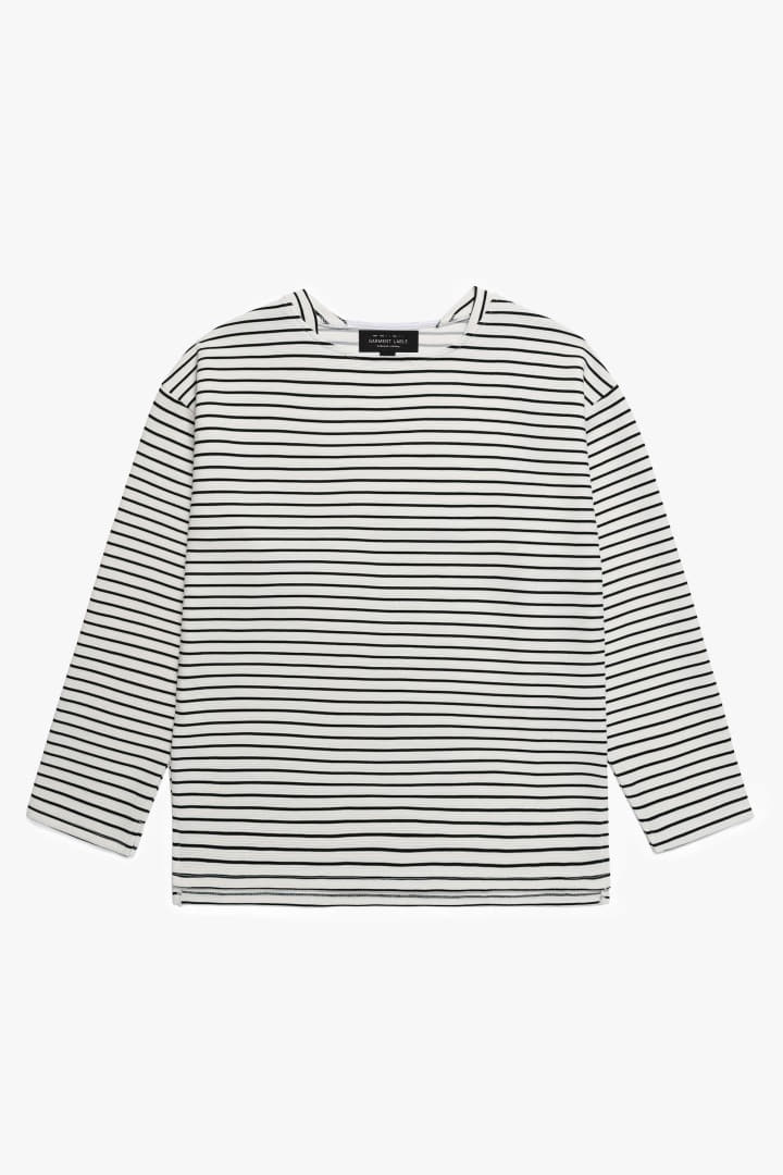 Boatneck Stripe Sleeve Tee White