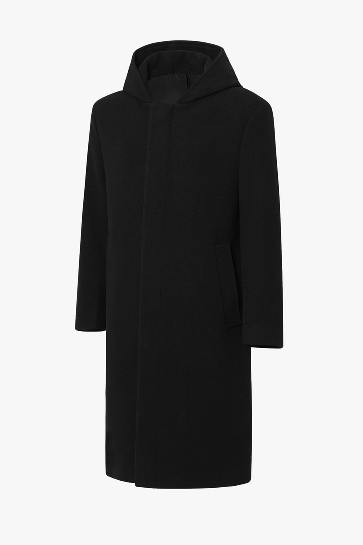Cashmere Hood Coat - Black