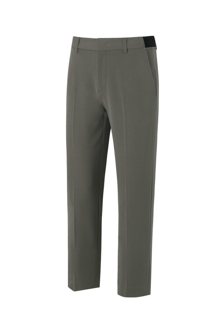 Banding Zipper Tapered Slacks - Khaki Brown