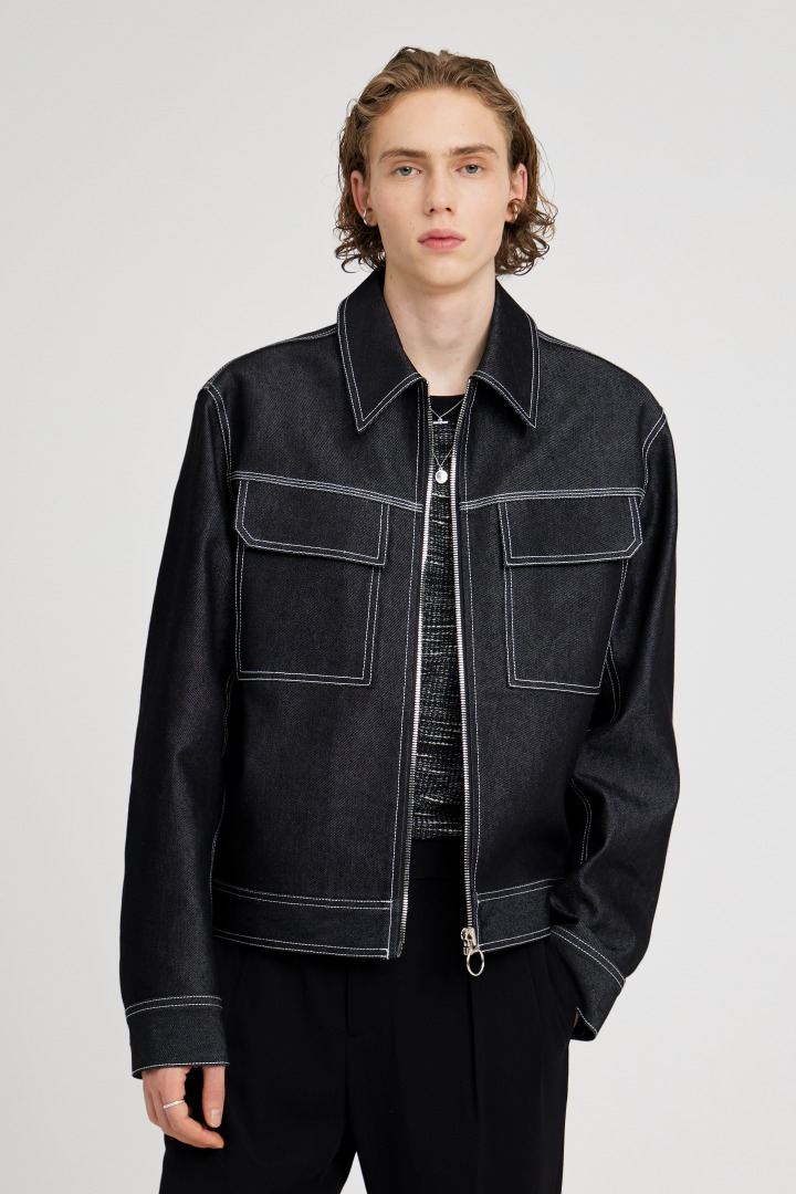 [3/5일 예약발송]Sharp Stitch Trucker Jacket - Black