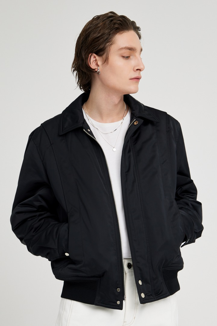 Satin Memory Bomber Jacket - Blue Black