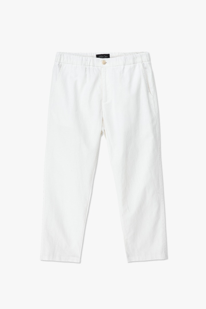 Linen Tapered Banding Pants - White