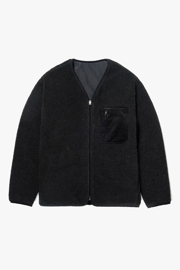Reversible Boa Fleece Jacket - Black