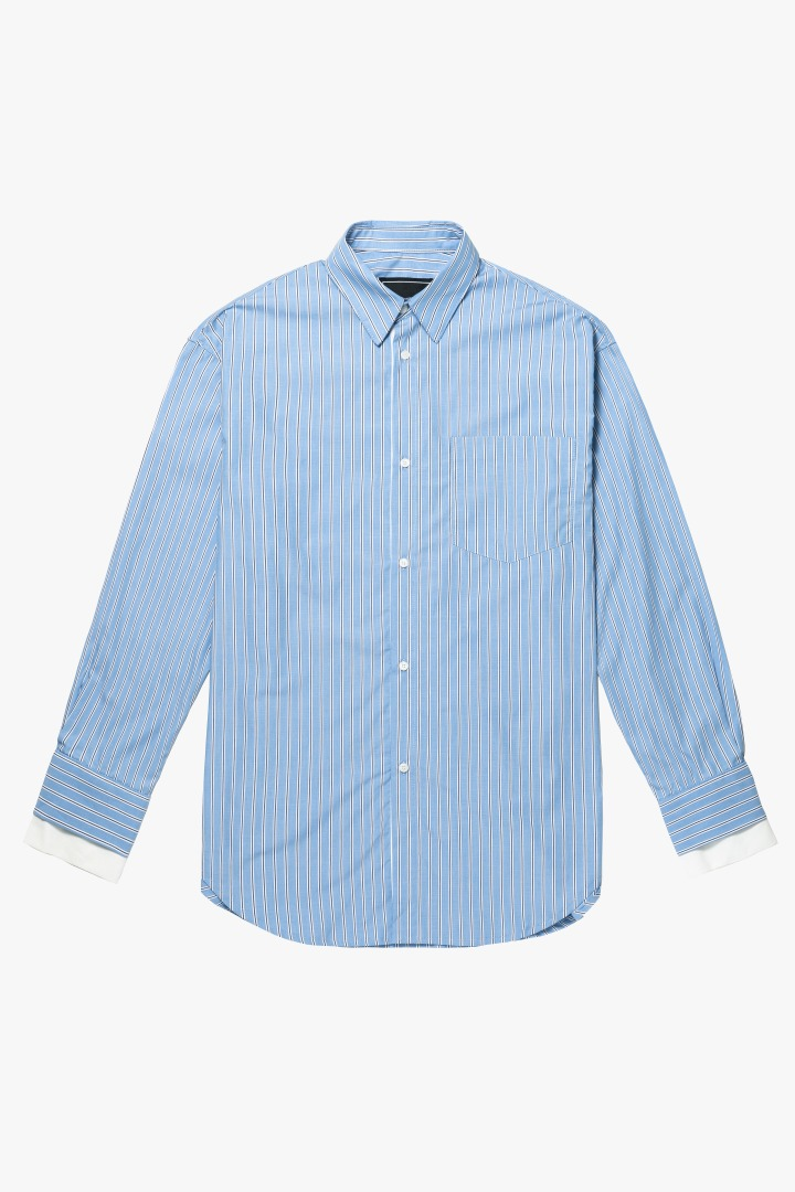 Cuffs Layered Over Stripe Shirt - Blue