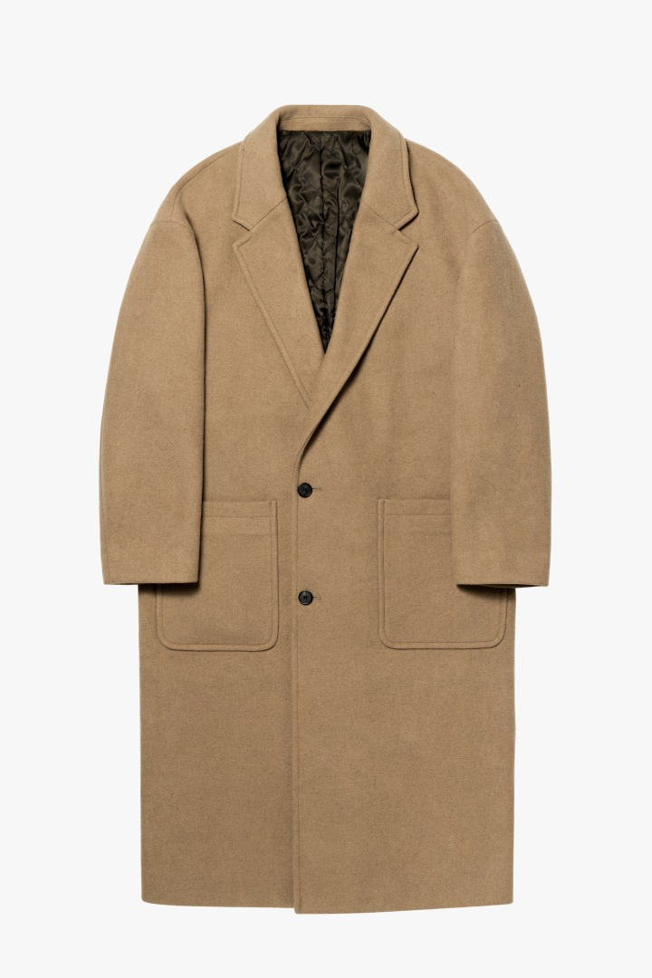 Notched Lapel Long Coat - Beige