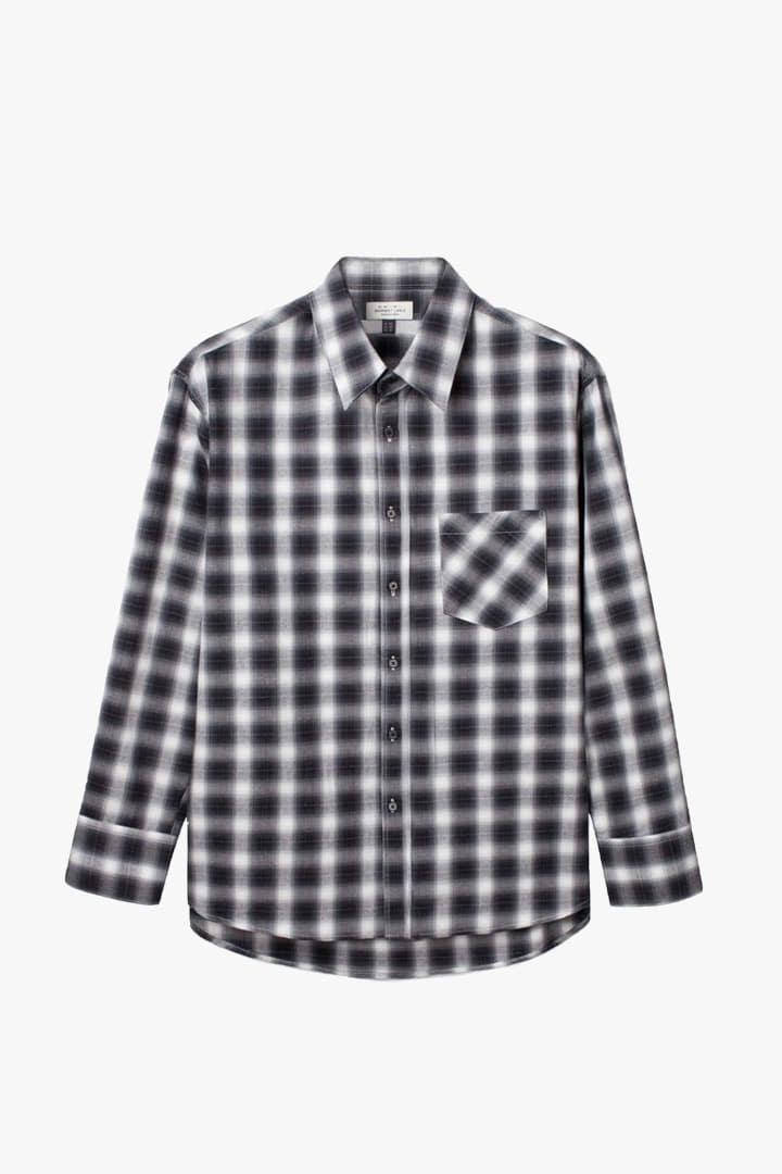 Flannel Check Oversize Shirts - Black