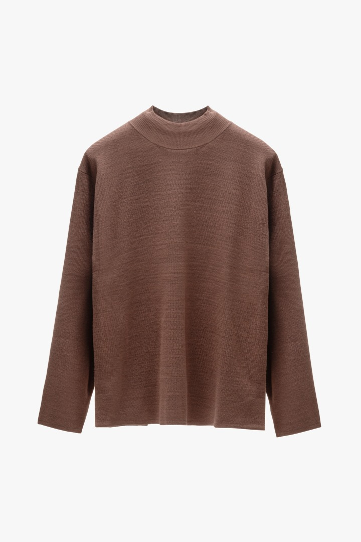 Twofold Half Neck Knit - Brown