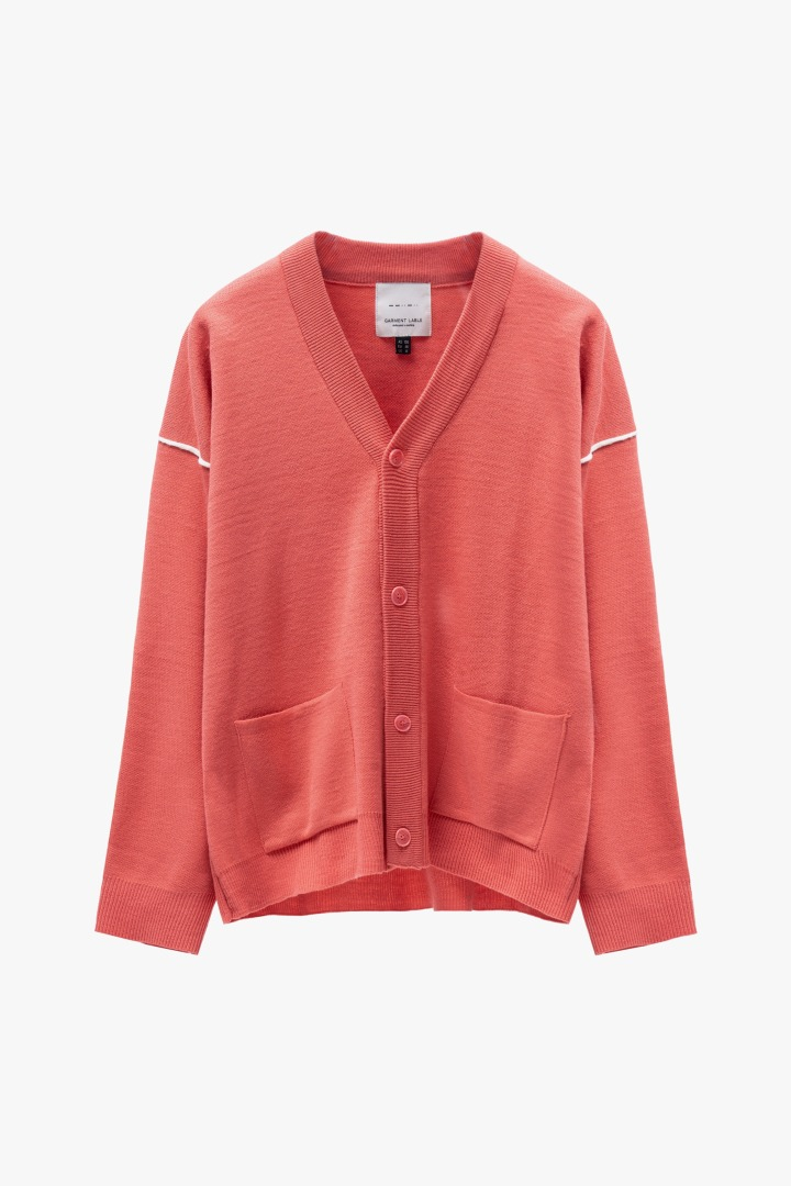 Twofold Line Cardigan - Living Coral