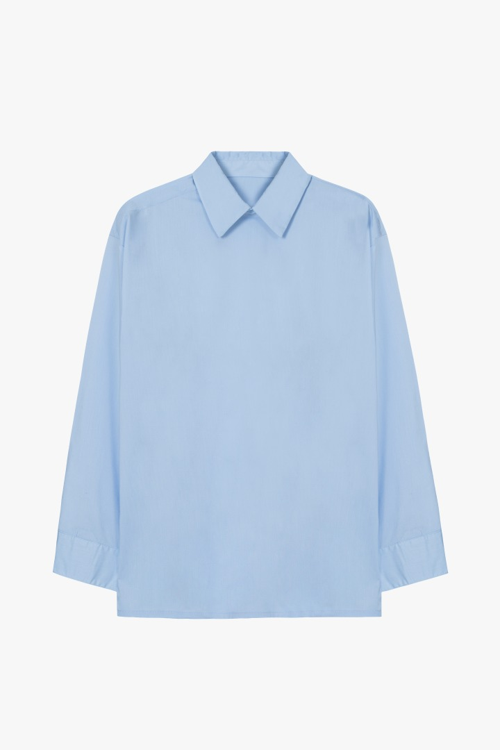 Minimal Hidden Button Shirt - Sky blue