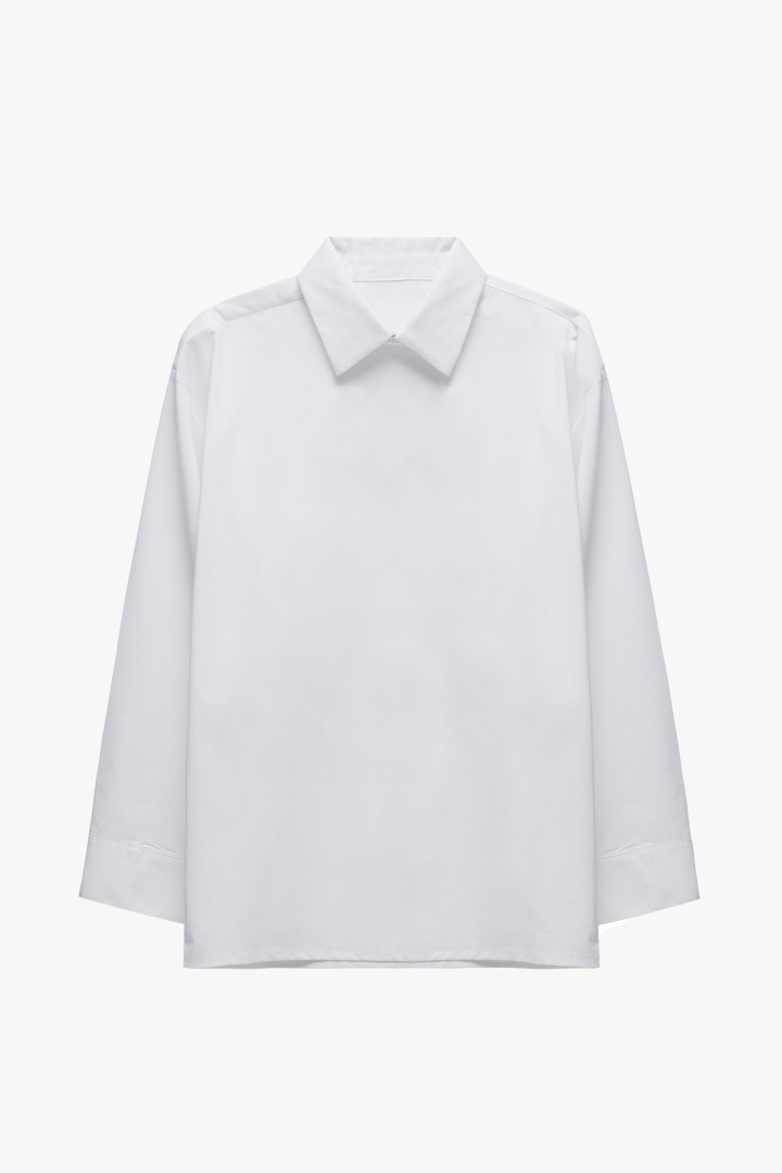Minimal Hidden Button Shirt - White
