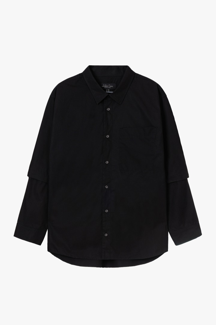 Detachable Sleeve Shirt - Black