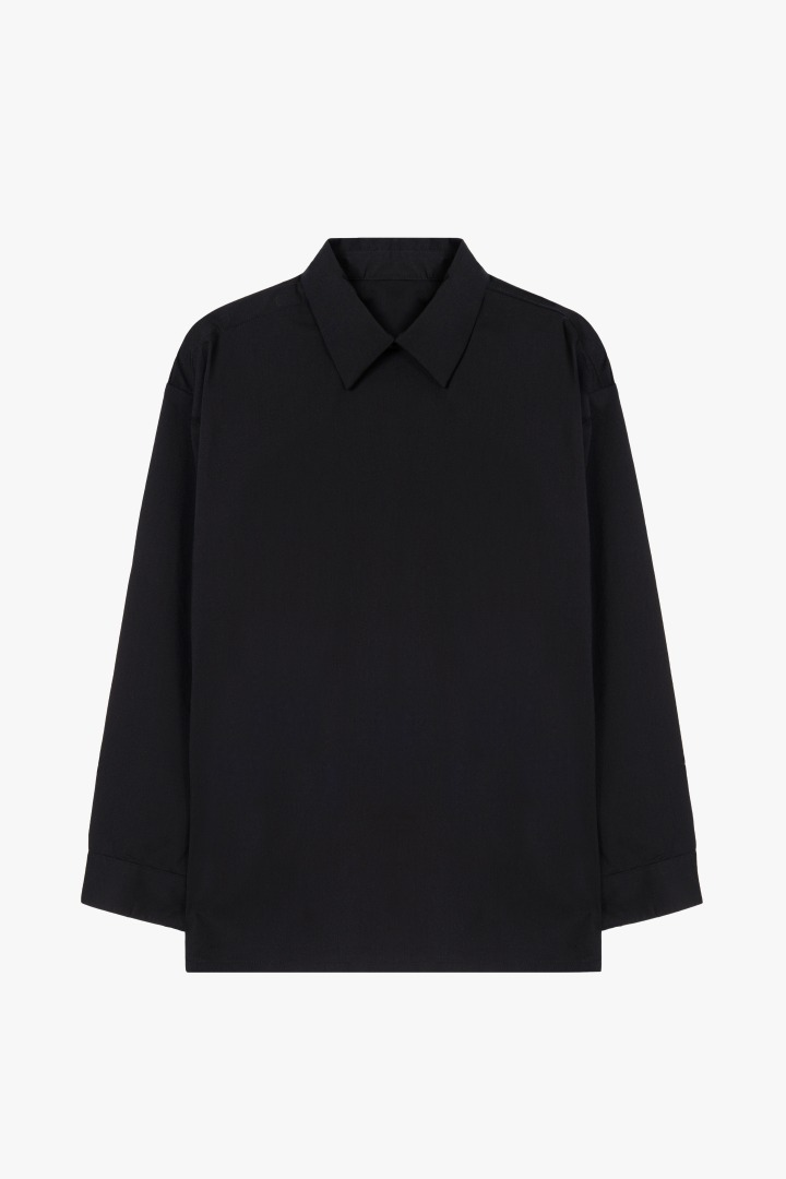 Minimal Hidden Button Shirt - Black