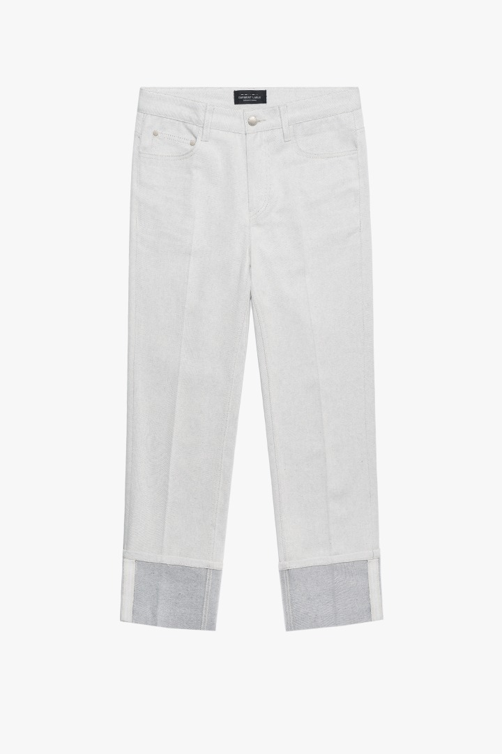 Denim Roll-up Pants - Ivory