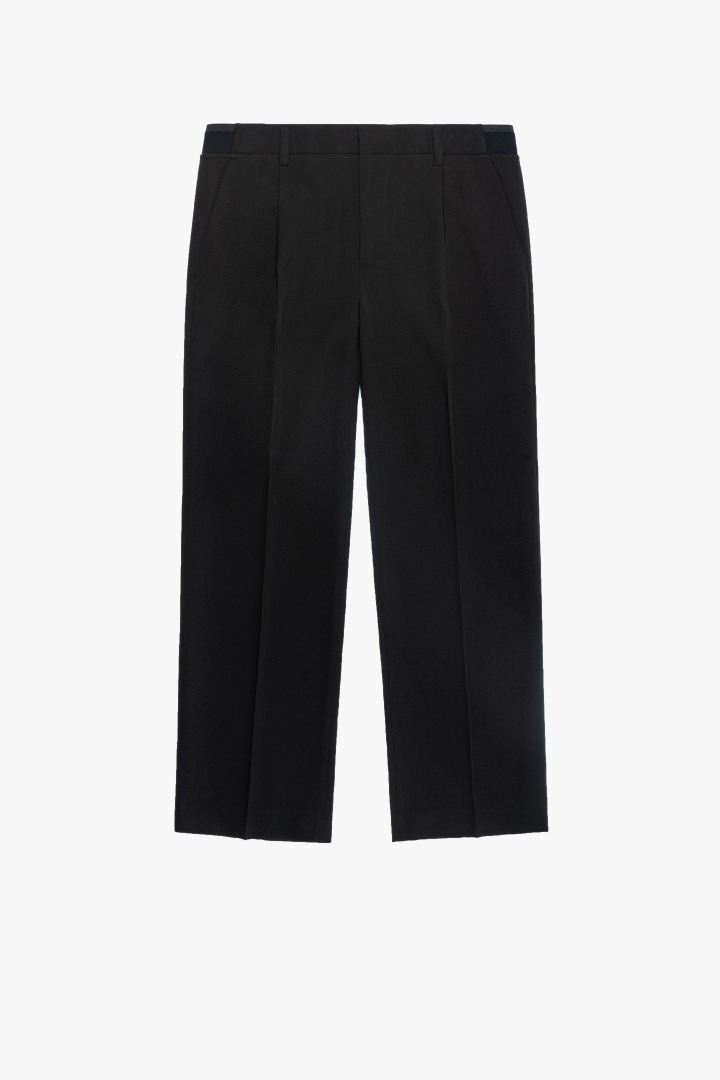 Banding Wide Crop Slacks - Black