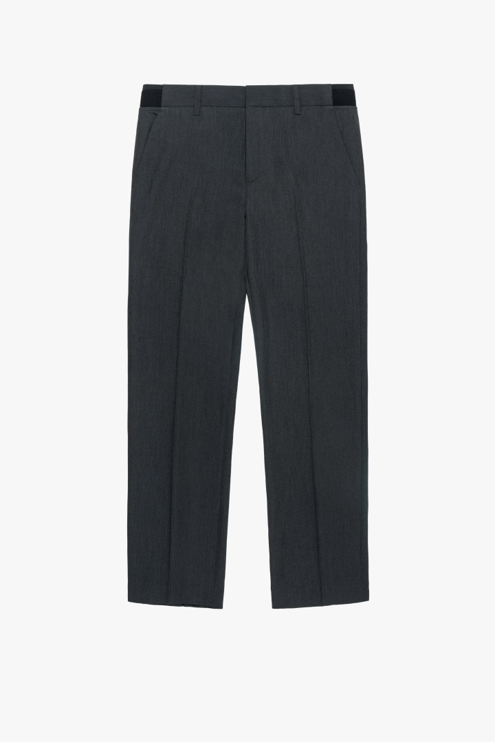 Banding Semi Wide Slacks - Charcoal