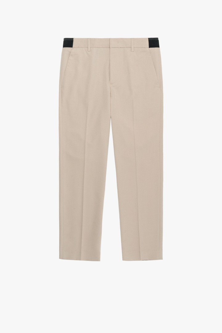 Banding Tapered Crop Slacks - Beige