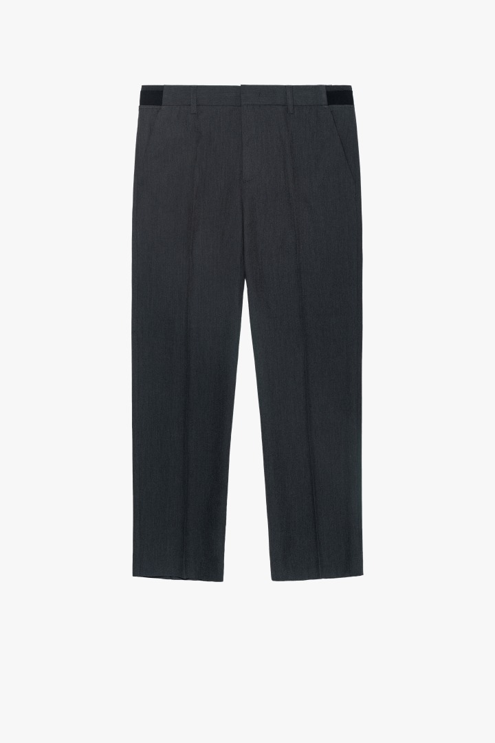 Banding Tapered Crop Slacks - Charcoal