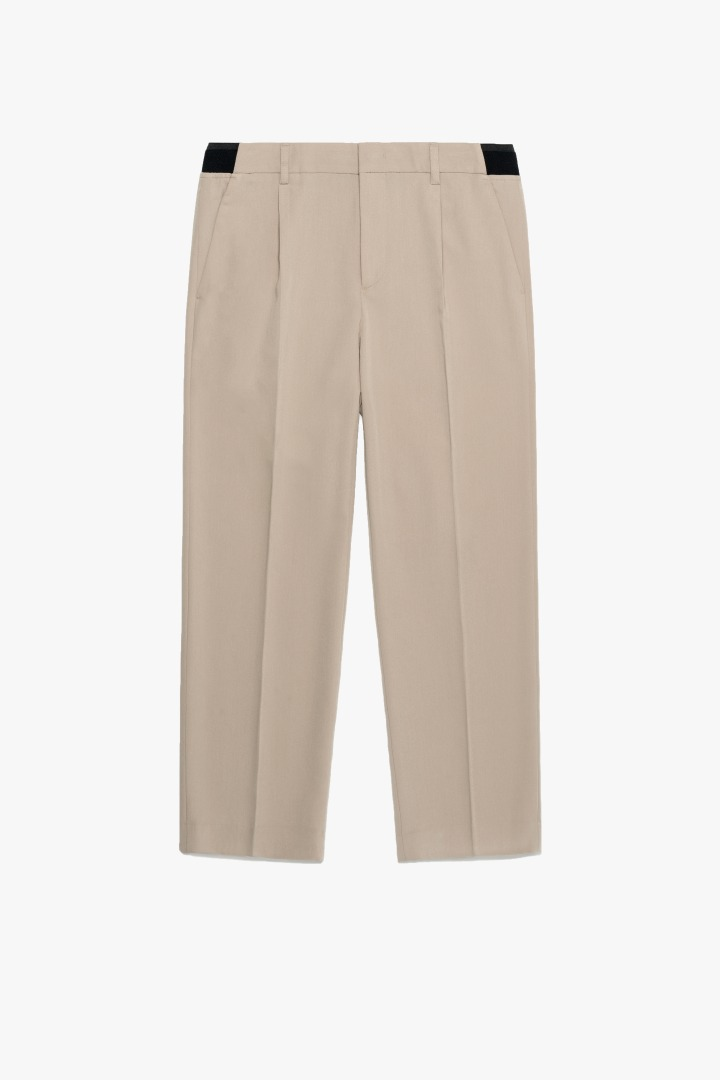 Banding Wide Crop Slacks - Beige