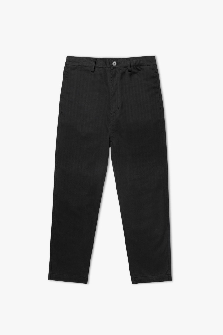 Herringbone Cotton Pants - Black