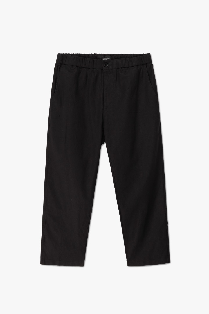 Linen Tapered Banding Pants - Black