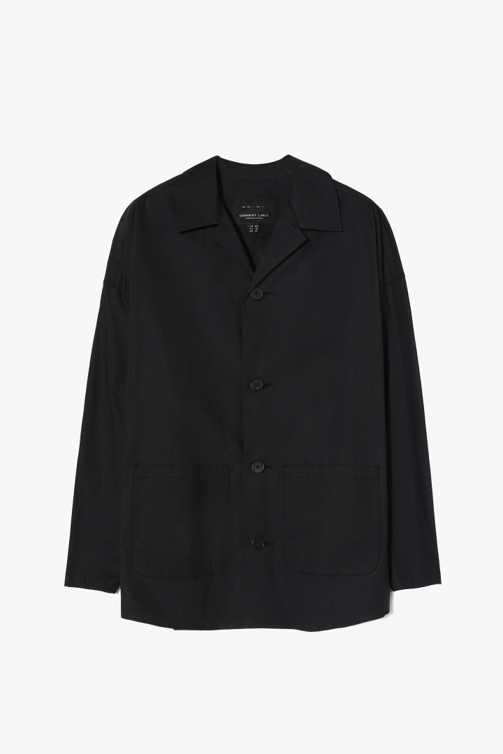 Open Collar Shirts Jacket - Black