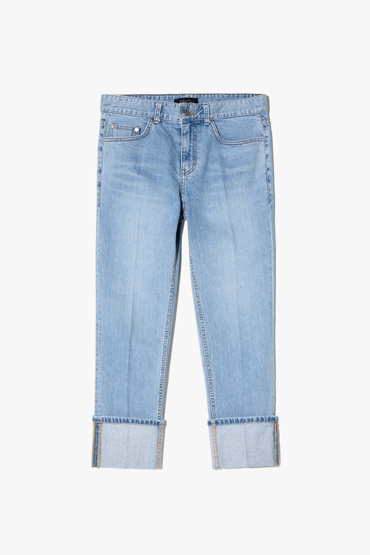 Denim Roll-up Pants - Light Blue