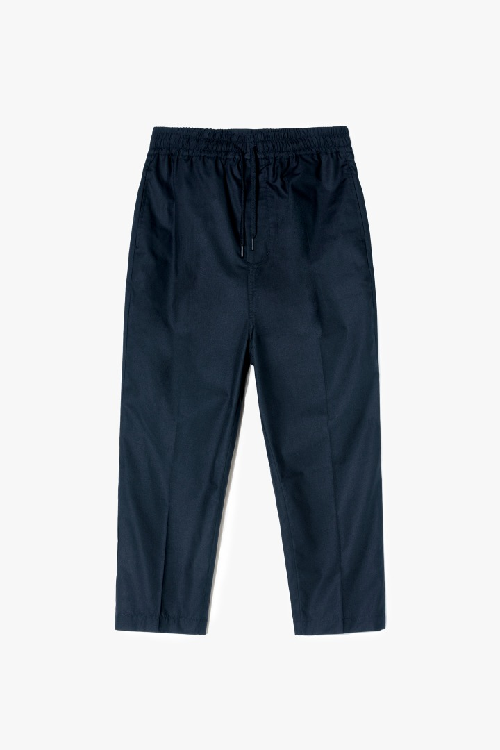 Relaxed Crop Baggy Pants - Navy