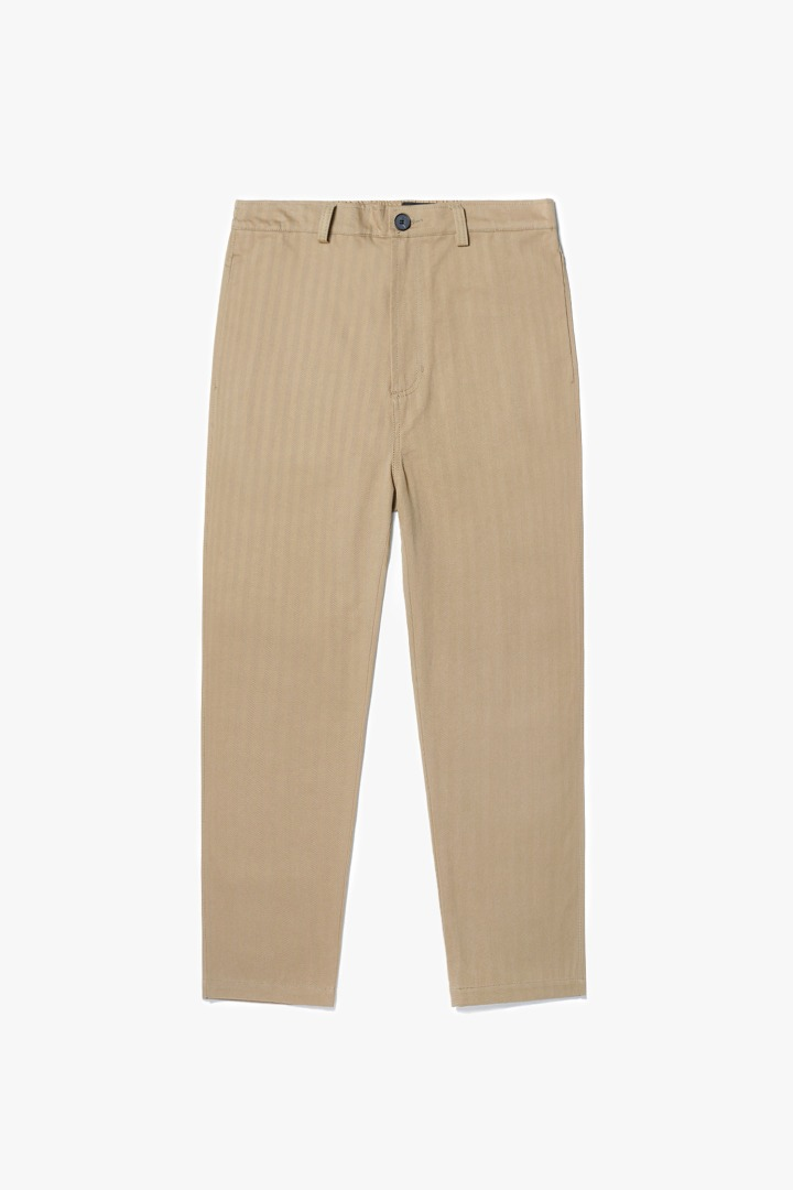 Herringbone Cotton Pants -  Beige