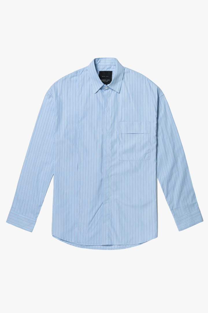 Addition Over Stripe Shirt - Sky Blue