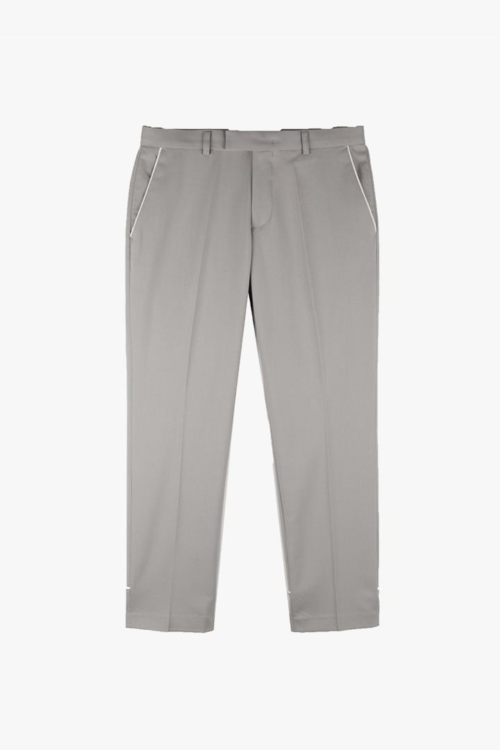 Piping Crop Slacks - Khaki Gray