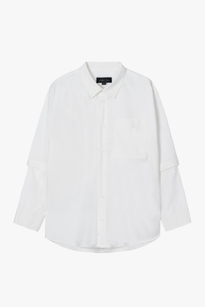 Detachable Sleeve Shirts - White