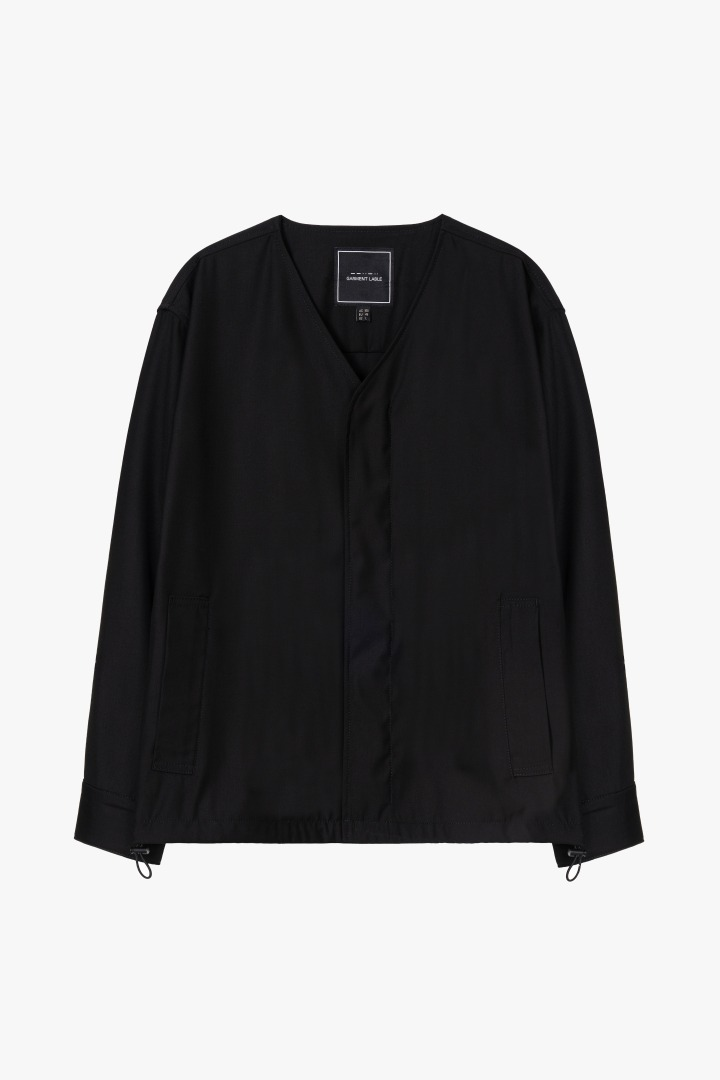 Snap Collarless Blouson - Black