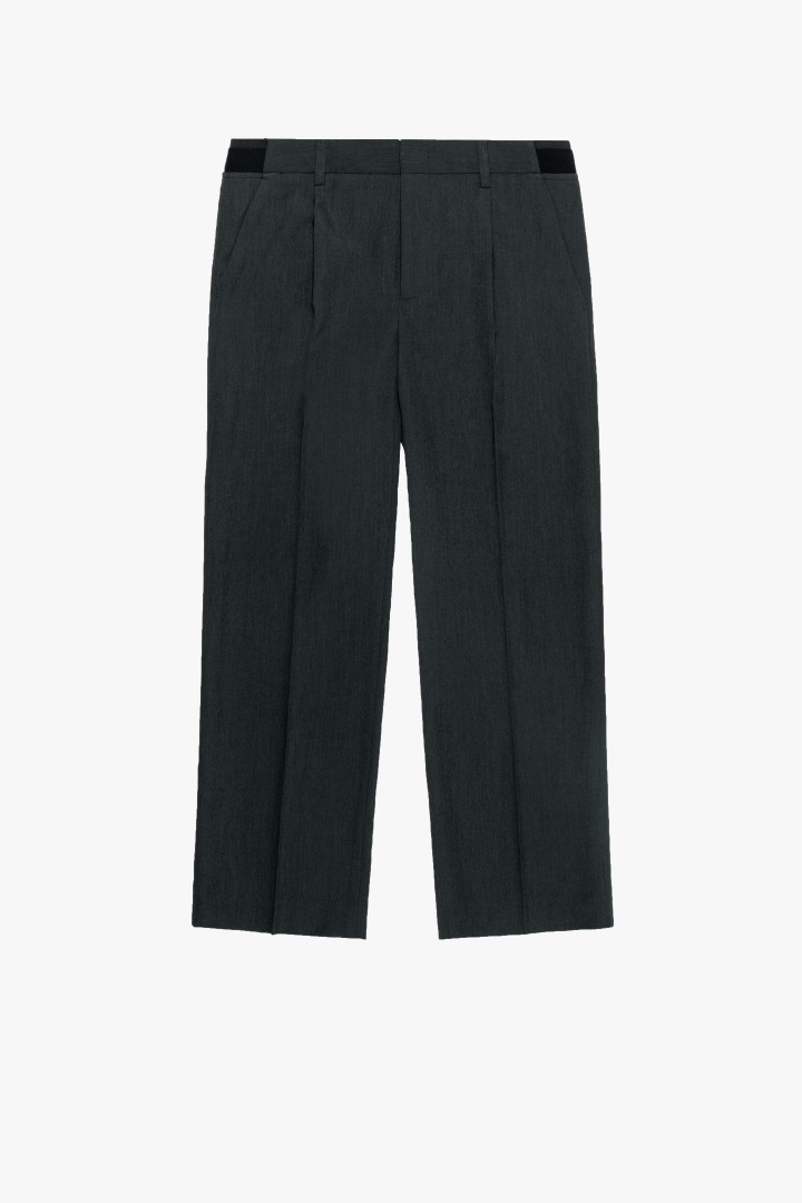 Banding Wide Crop Slacks - Charcoal