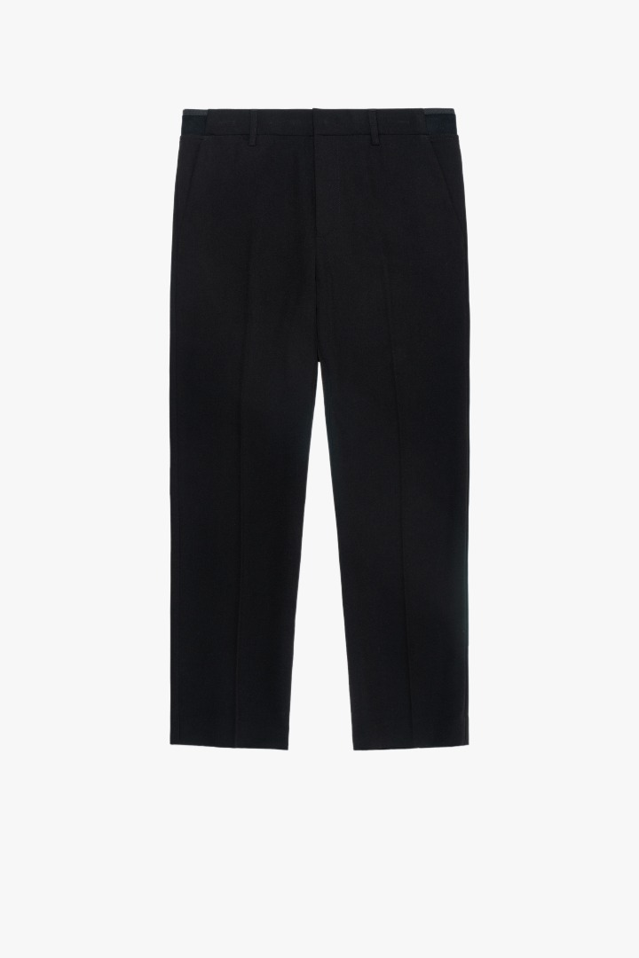 Banding Tapered Crop Slacks - Black