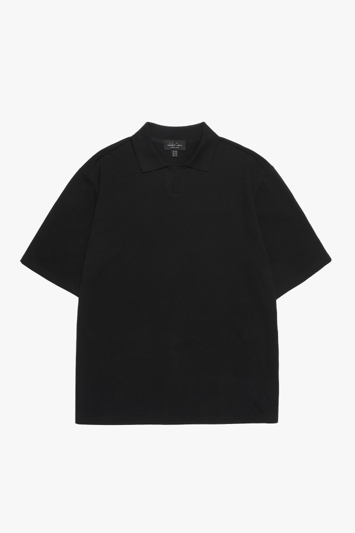 Pique Collar T-shirt - Black