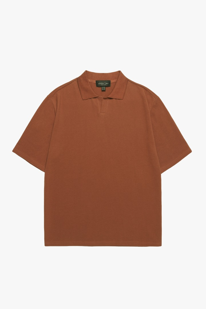 Pique Collar T-shirt - Brown