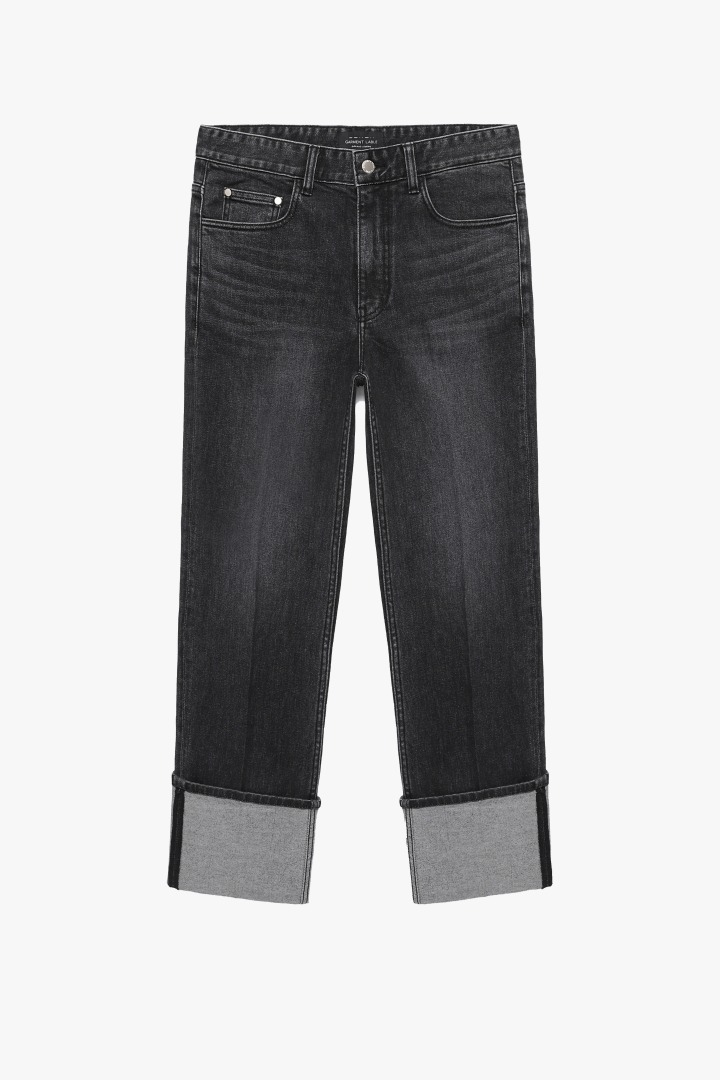 Denim Roll-up Pants - Black Washed