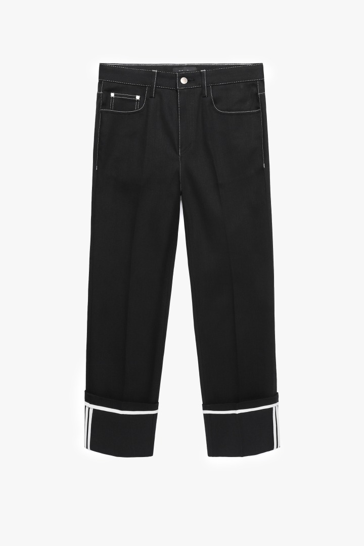 Denim Roll-up Pants - Stitch Black