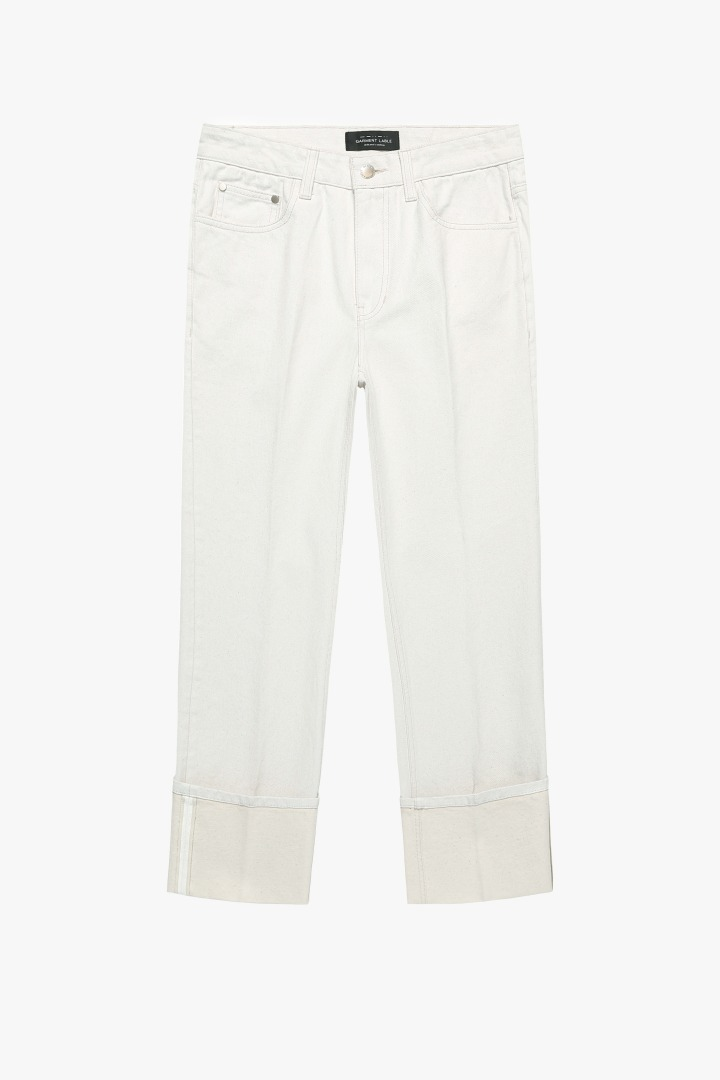 Denim Roll-up Pants - Cream