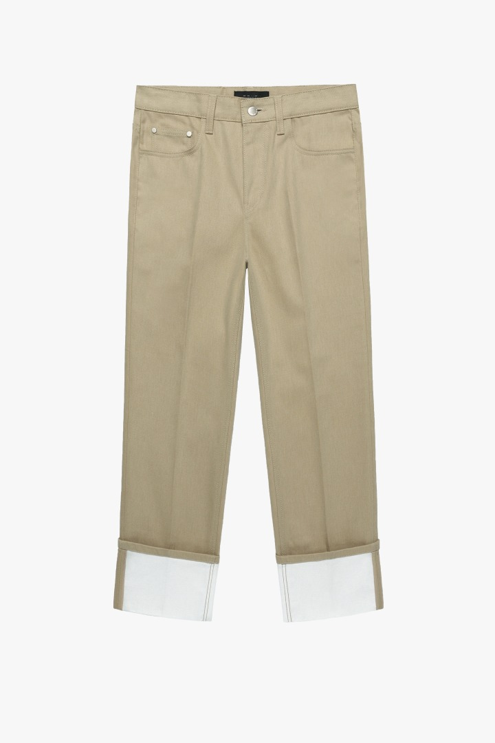 Denim Roll-up Pants - Beige