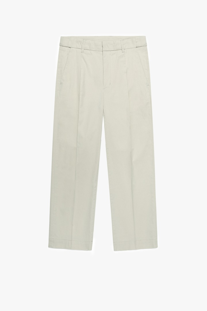 Hidden Banding Linen Wide Slacks-Light Beige