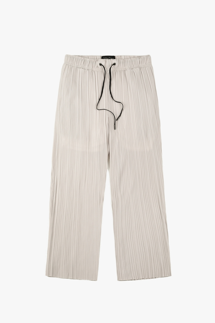 Wide Pleat Pants - Light beige